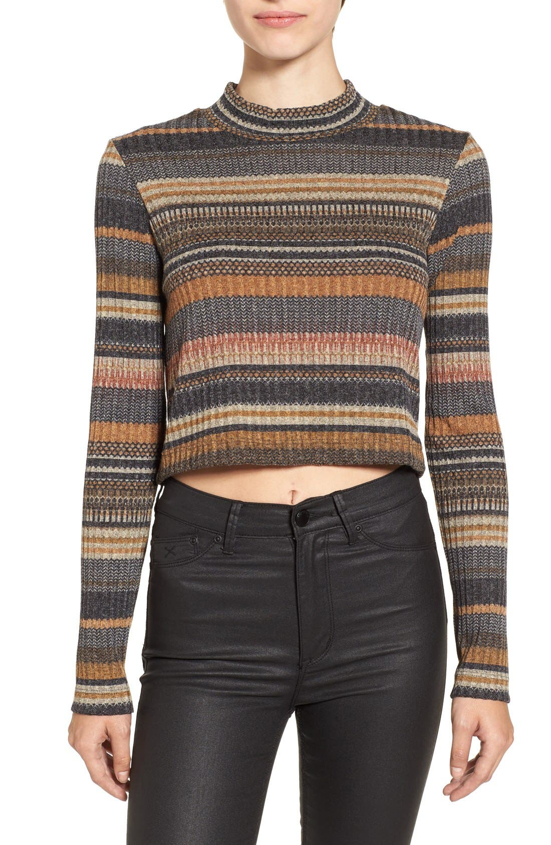 Alternate Image 1 Selected - Mimi Chica Stripe Mock Neck Sweater