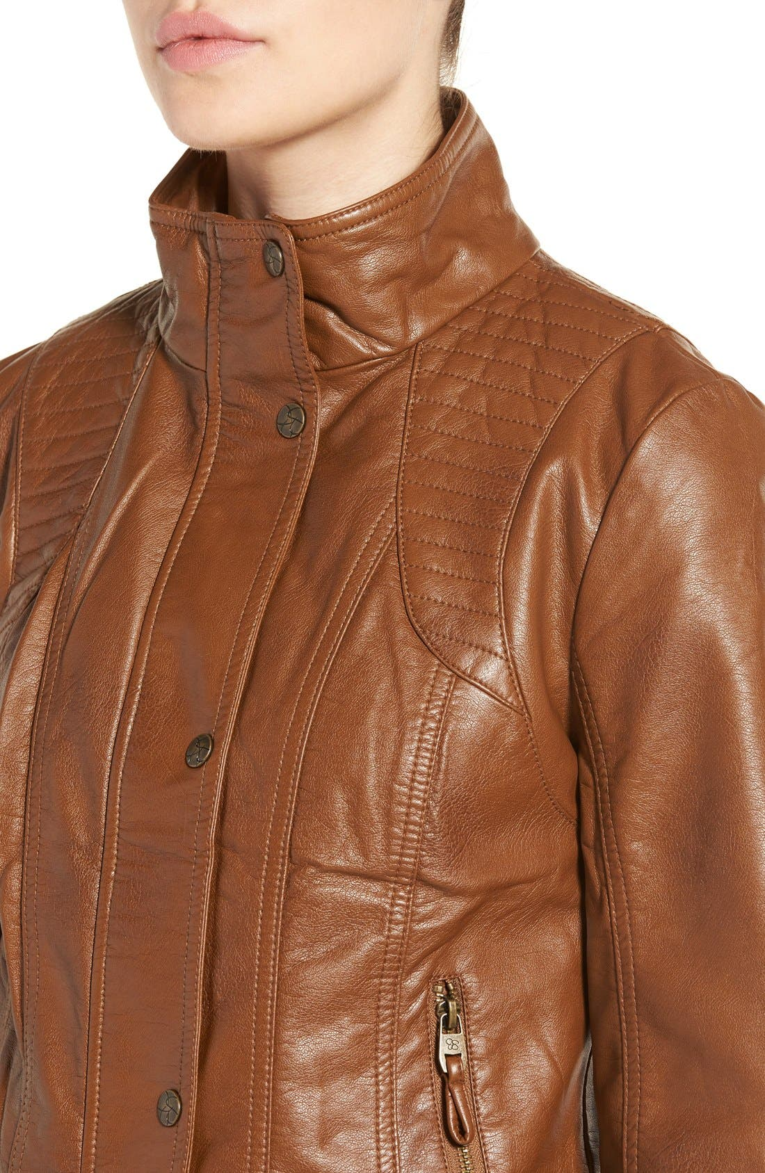 Alternate Image 4  - Jessica Simpson Quilted Faux Leather Jacket
