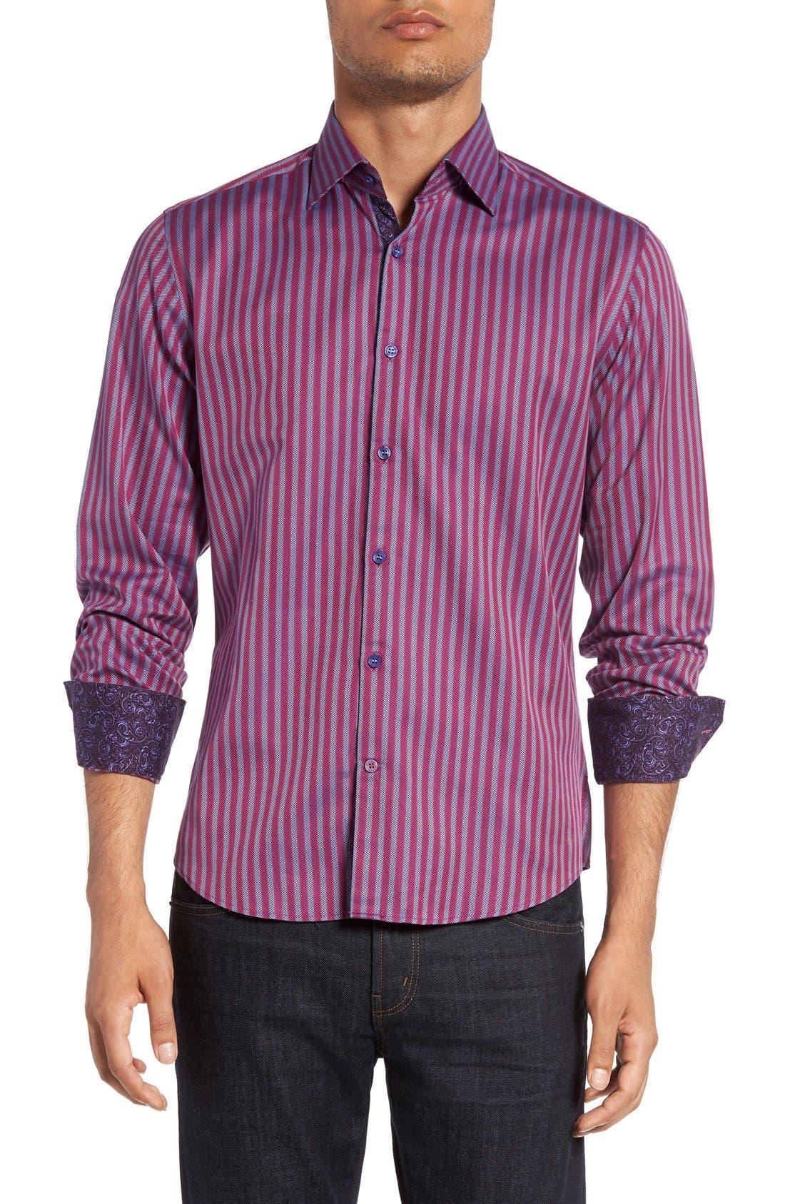 Stone Rose Trim Fit Bird's-Eye Stripe Sport Shirt