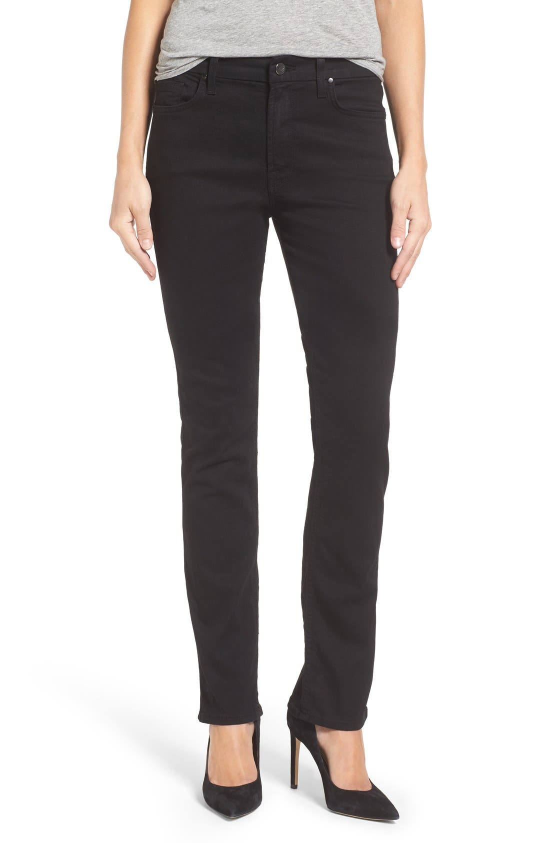 Jen7 Stretch Slim Straight Leg Jeans (Riche Touch Black Noir)