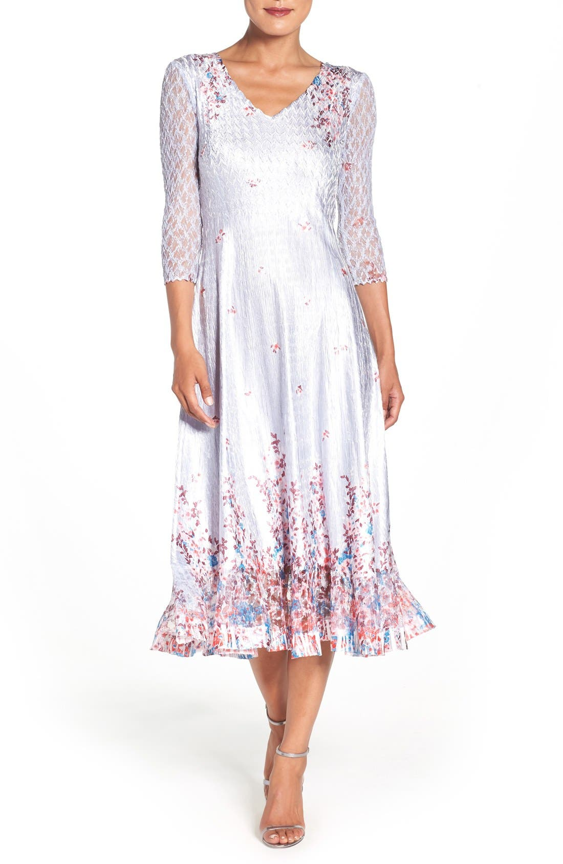 KOMAROV Floral Charmeuse & Lace A-Line Dress