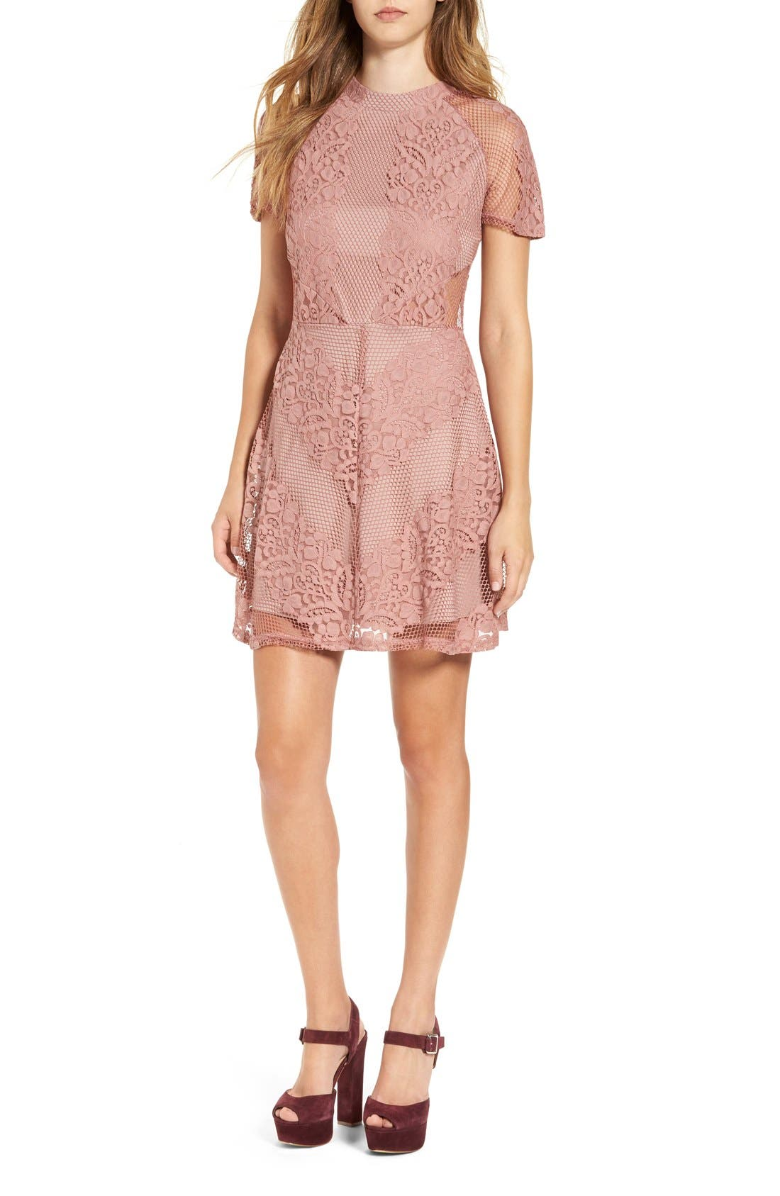 Alternate Image 1 Selected - Glamorous Lace & Mesh Overlay Fit and Flare Dress