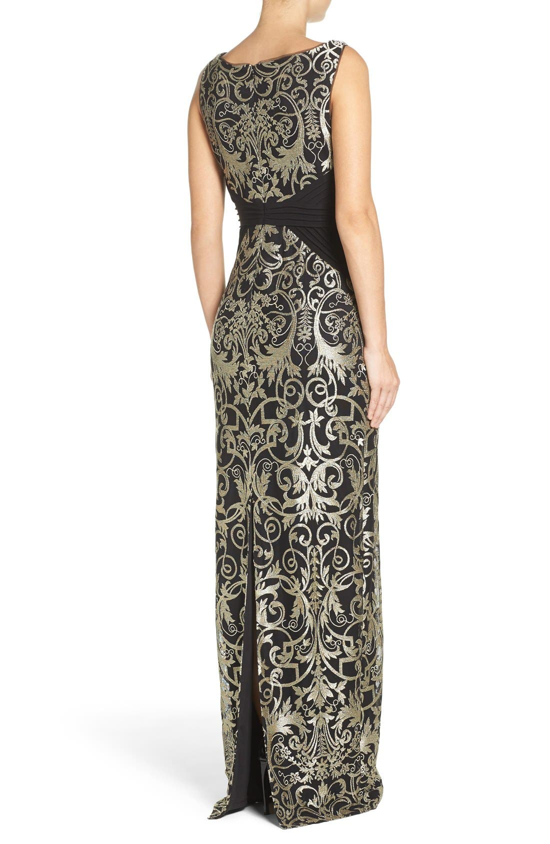 Alternate Image 2  - Adrianna Papell Embroidered Jersey Column Gown