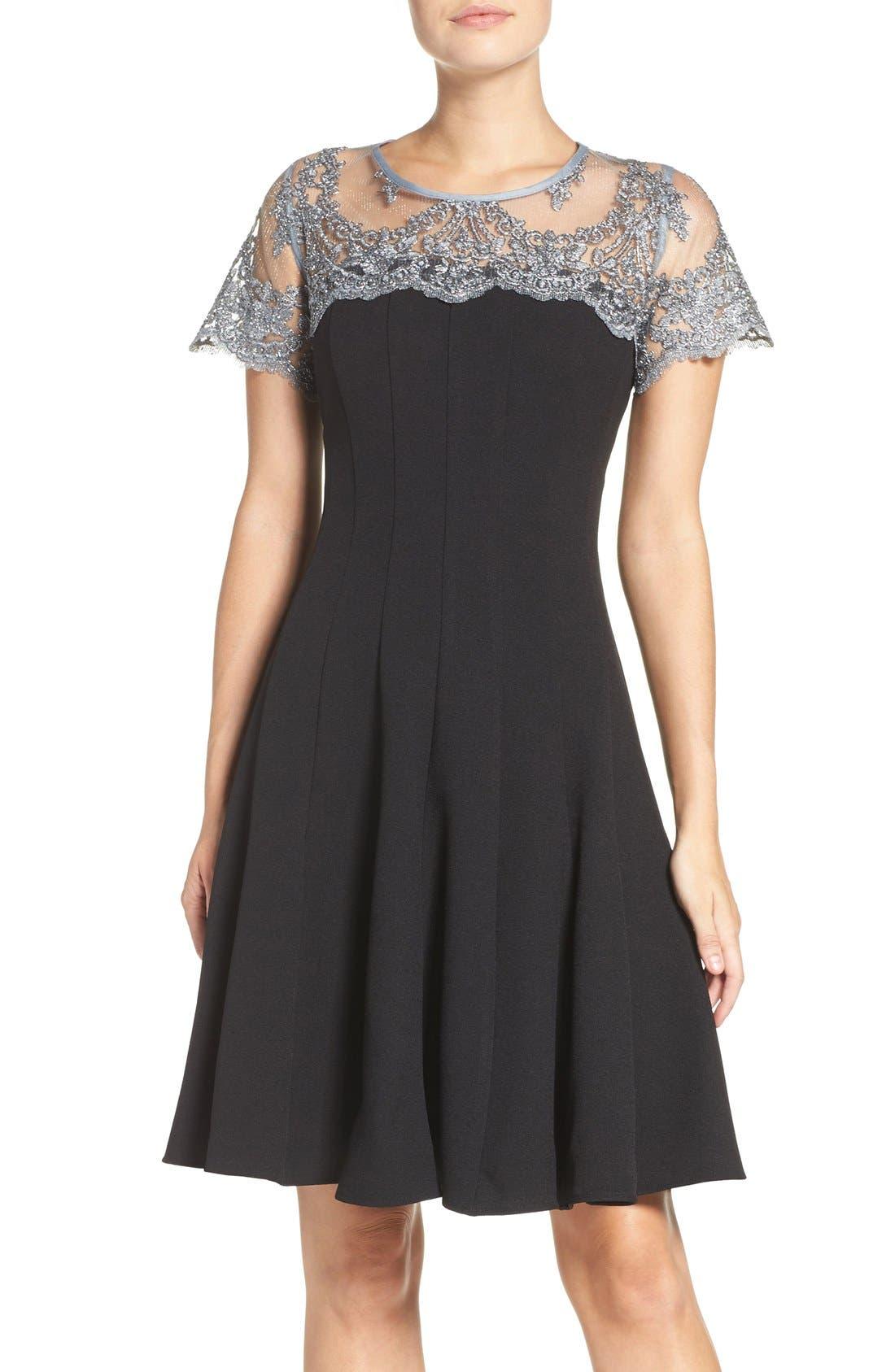 Main Image - Chetta B Lace Yoke Fit & Flare Dress