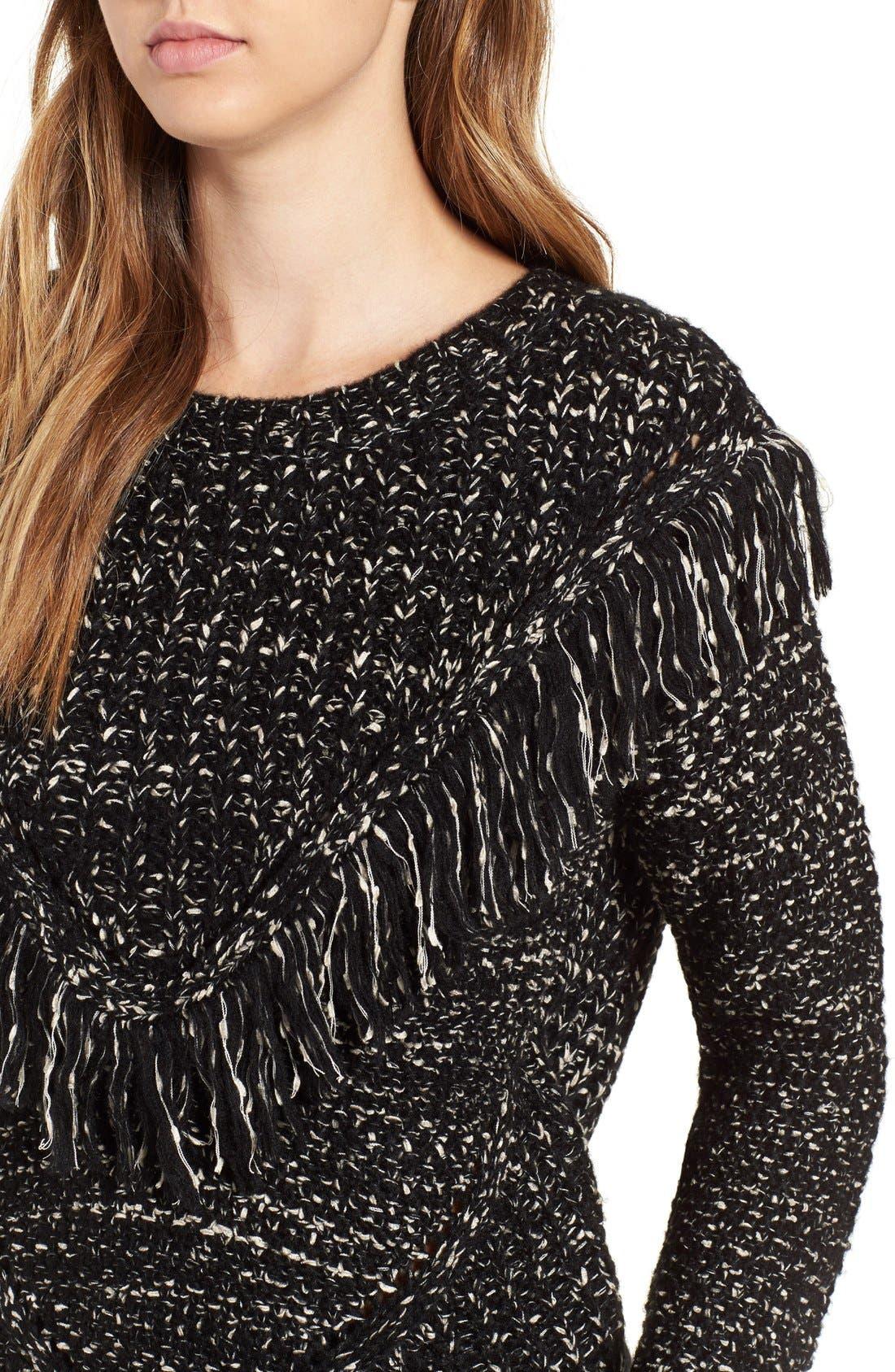 Alternate Image 4  - ASTR 'Marion' Fringe Detail Crewneck Sweater