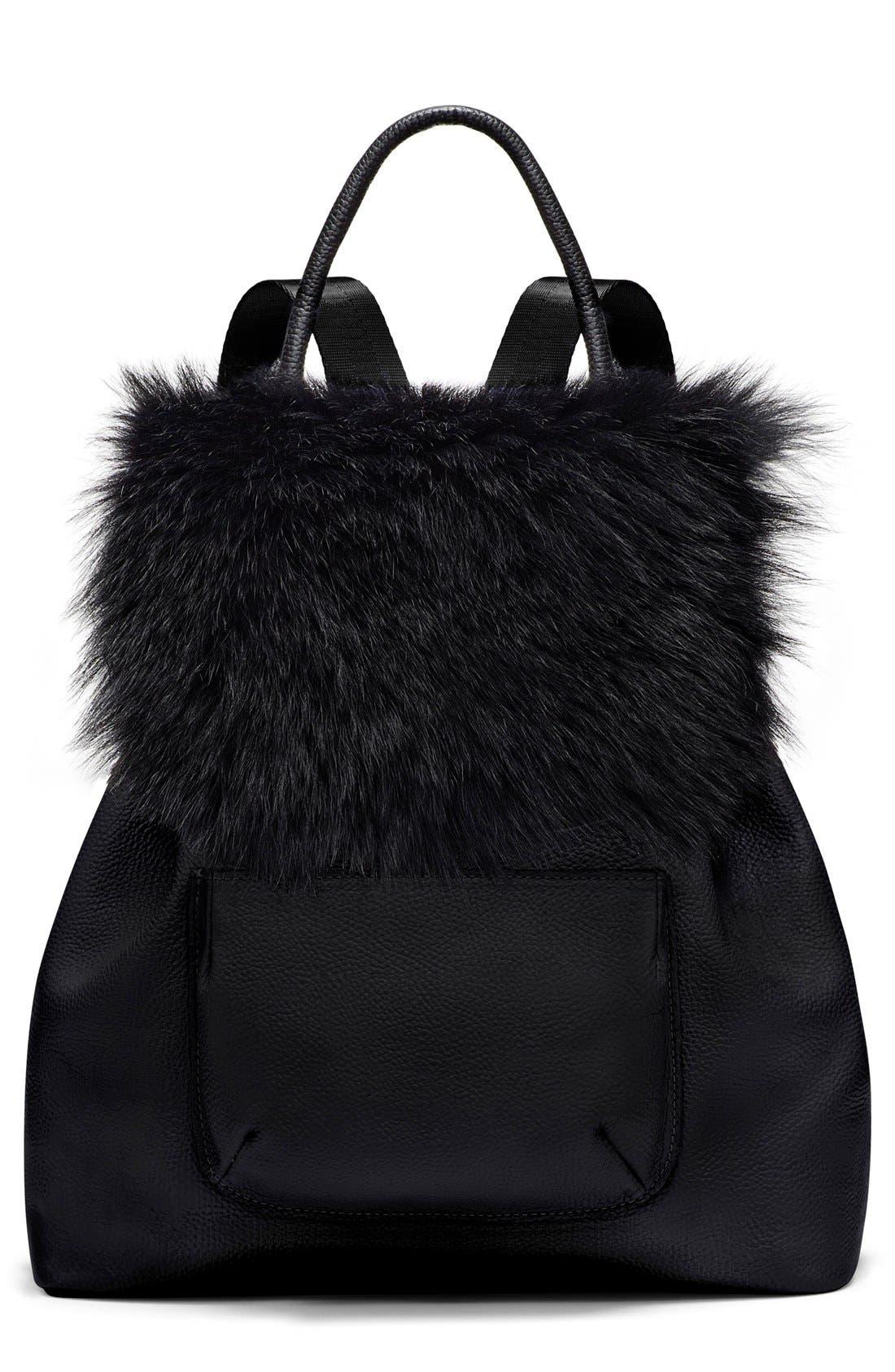 Main Image - Elizabeth and James 'Langley' Leather & Genuine Sheep Fur Backpack