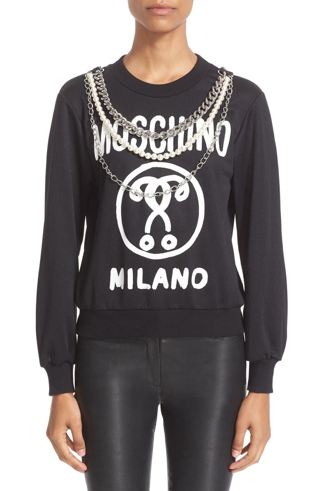 Alternate Image 1 Selected - Moschino Chain & Faux Pearl Embellished Sweatshirt