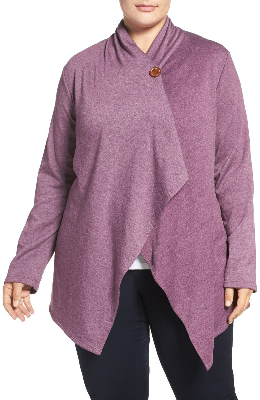 BOBEAU One-Button Fleece Cardigan