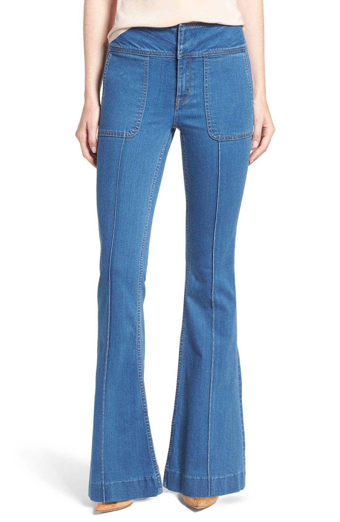 Main Image - Olivia Palermo + Chelsea28 High Rise Flare Jeans (Mode Lt Rinse)