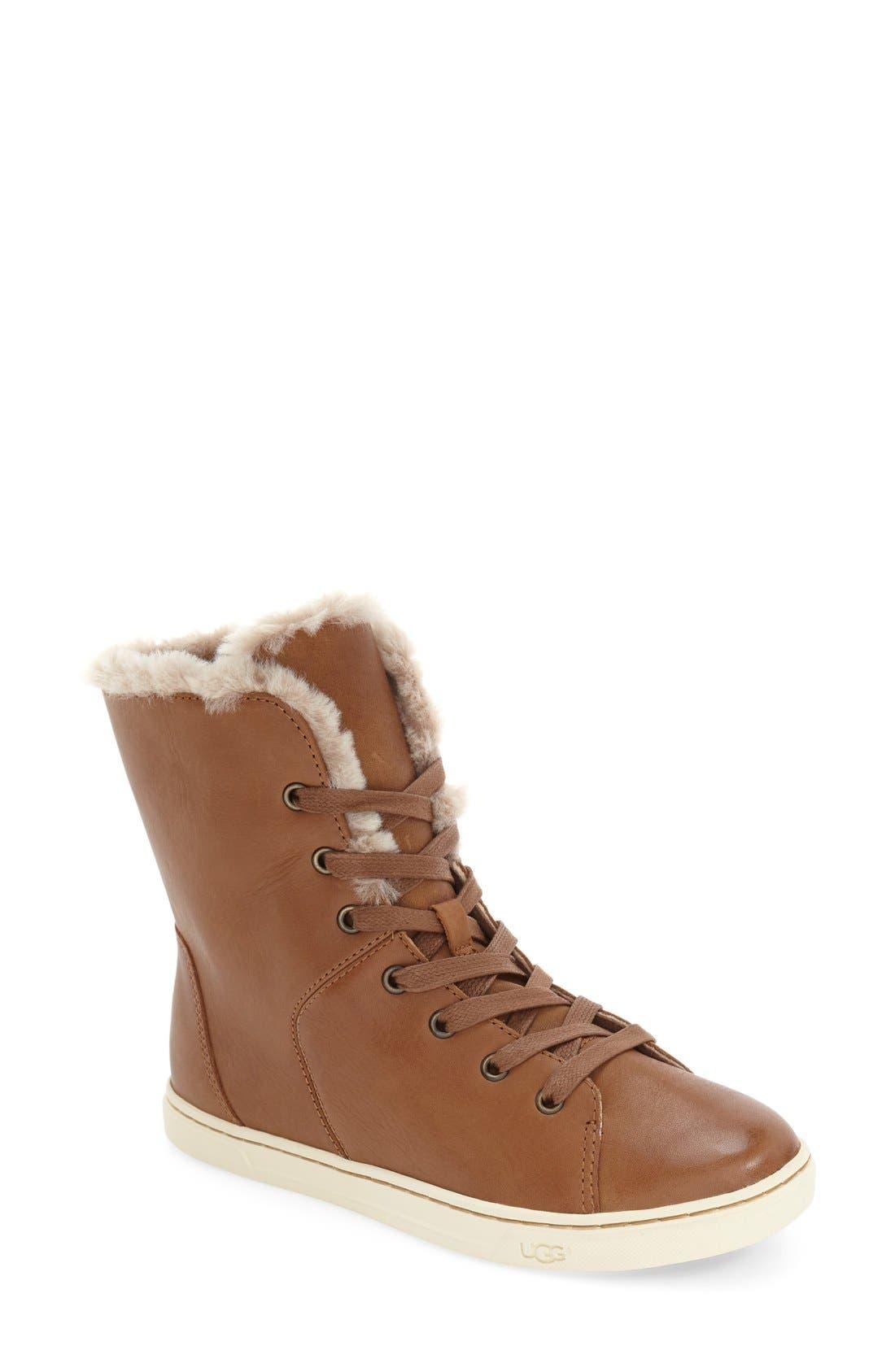 Alternate Image 1 Selected - UGG® 'Croft Luxe' Genuine Shearling High Top Sneaker (Women)