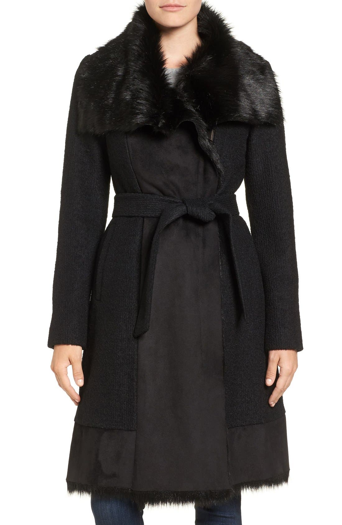 Main Image - Vince Camuto Faux Shearling Trim Belted Wool Blend Long Coat
