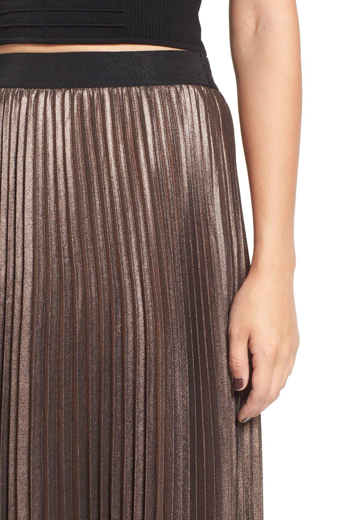 Alternate Image 4  - Leith Metallic Pleated Midi Skirt