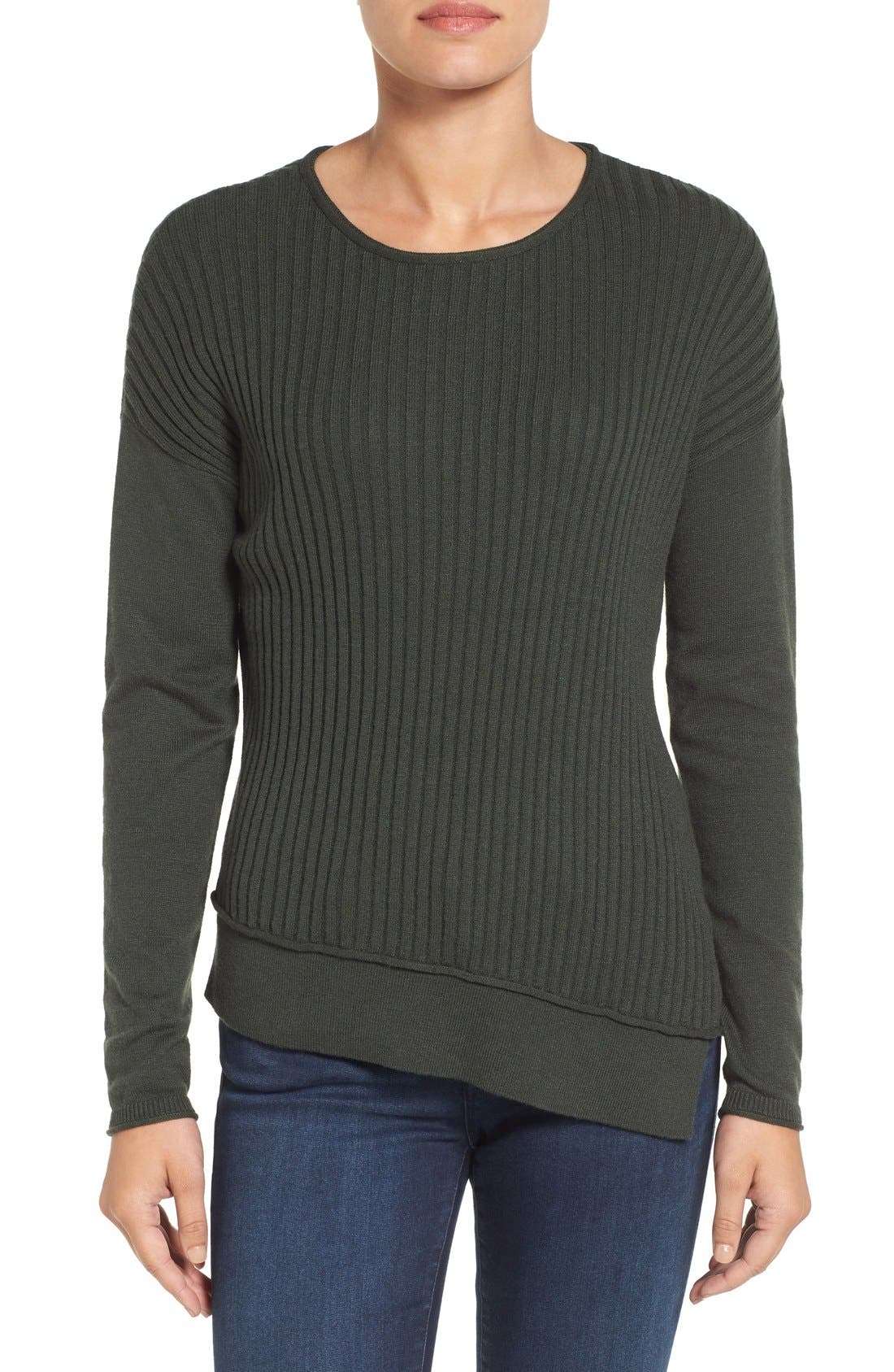 Alternate Image 1 Selected - Caslon® Asymmetrical Ribbed Sweater