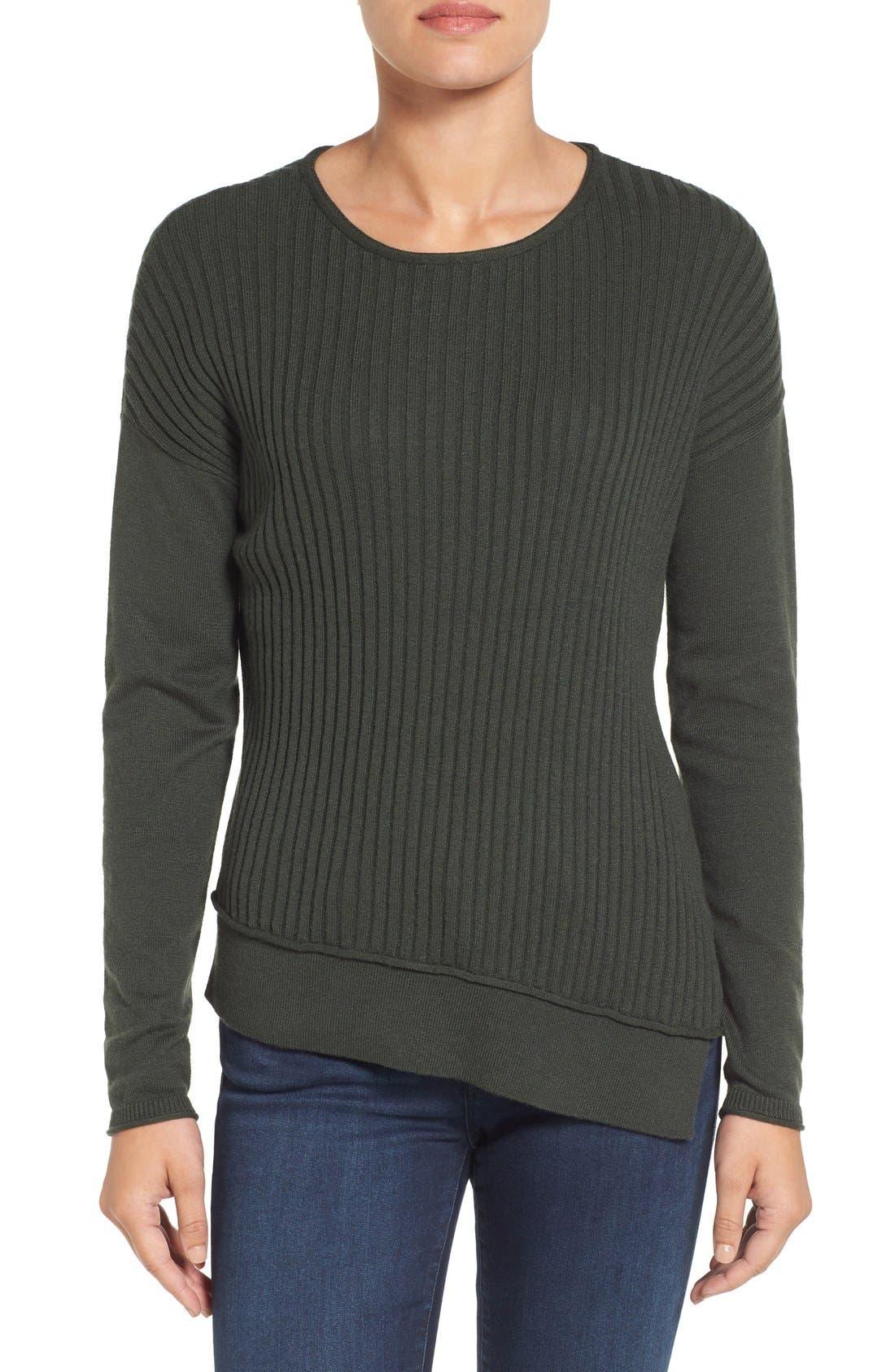 Main Image - Caslon® Asymmetrical Ribbed Sweater