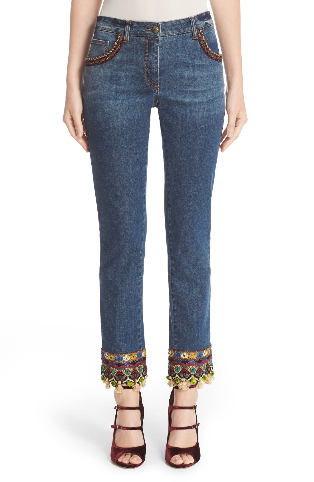 ETRO Beaded & Embroidered Crop Jeans