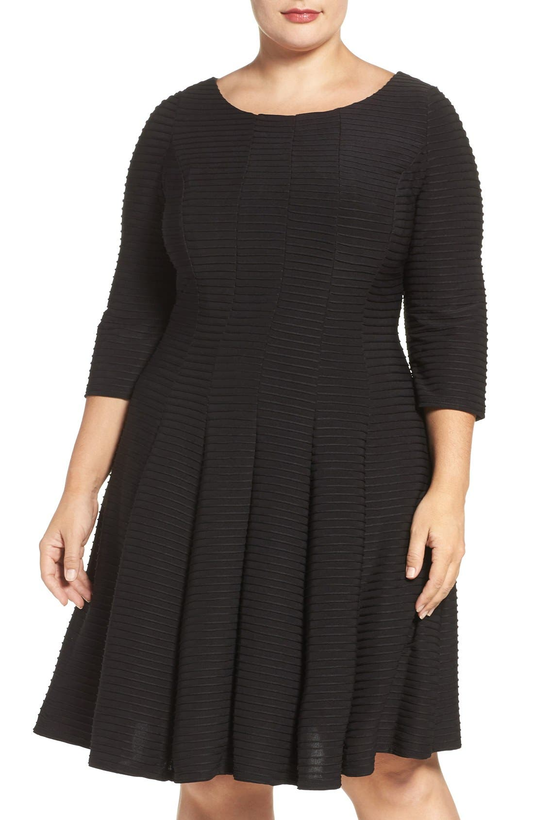 Main Image - Gabby Skye Pintuck Knit Fit & Flare Dress (Plus Size)