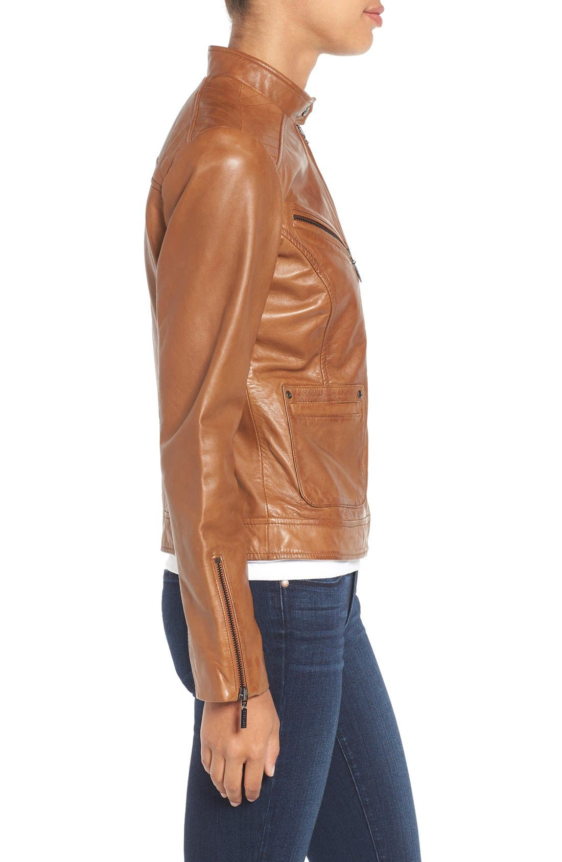 Alternate Image 4  - Bernardo Kirwin Leather Jacket (Regular & Petite)