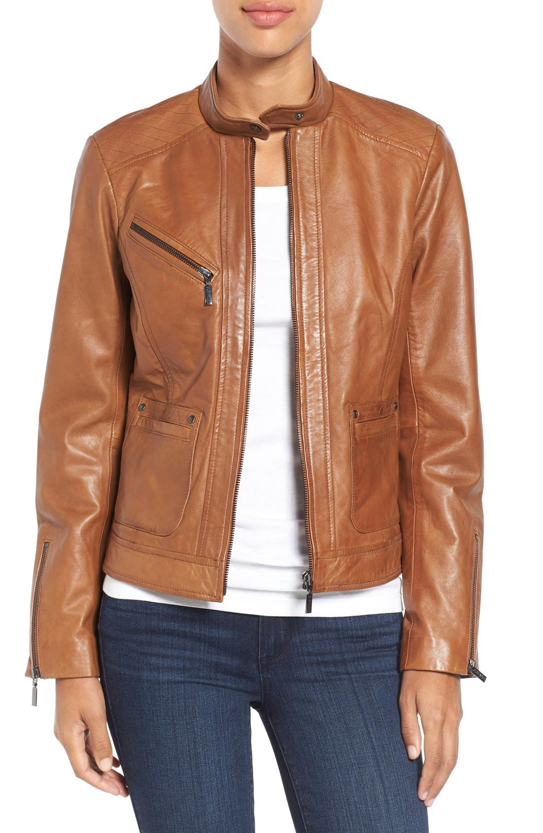 Main Image - Bernardo Kirwin Leather Jacket (Regular & Petite)