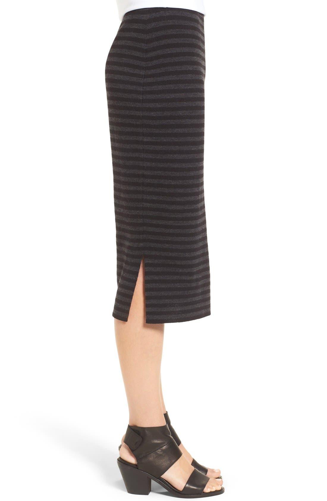 Alternate Image 3  - Eileen Fisher Merino Wool Blend Double Knit Stripe Pencil Skirt (Regular & Petite)