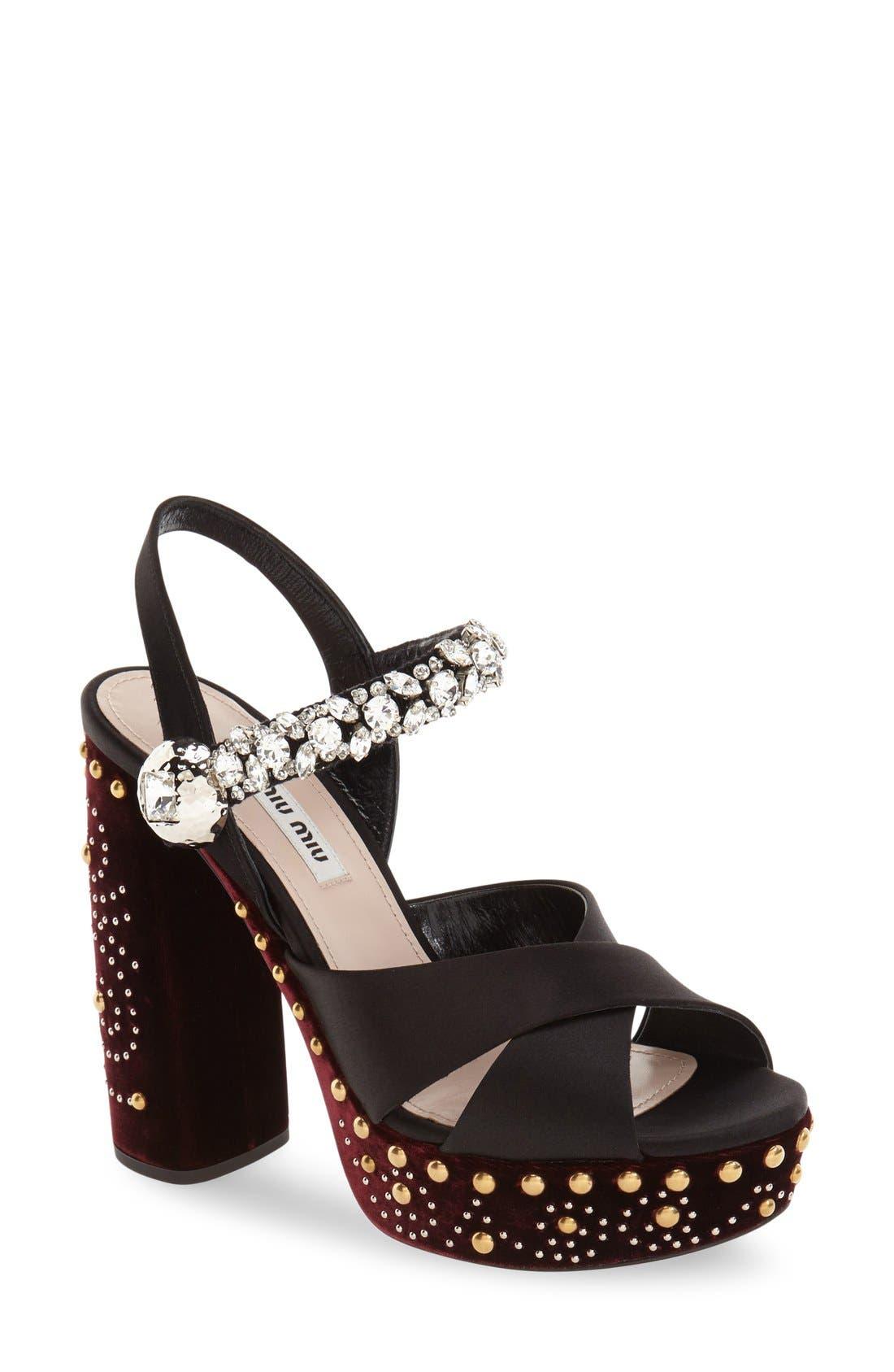 Main Image - Miu Miu Embellished Platform Sandal (Women)