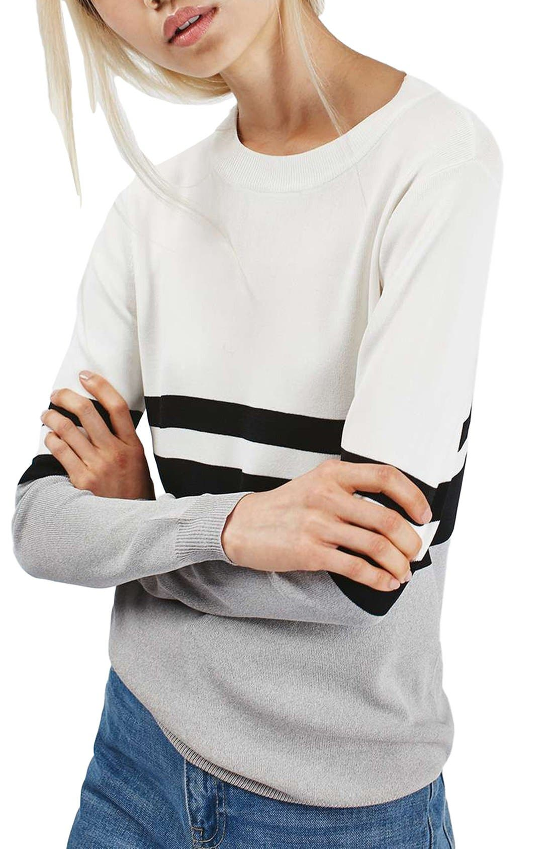 Alternate Image 1 Selected - Topshop Sporty Stripe Sweater