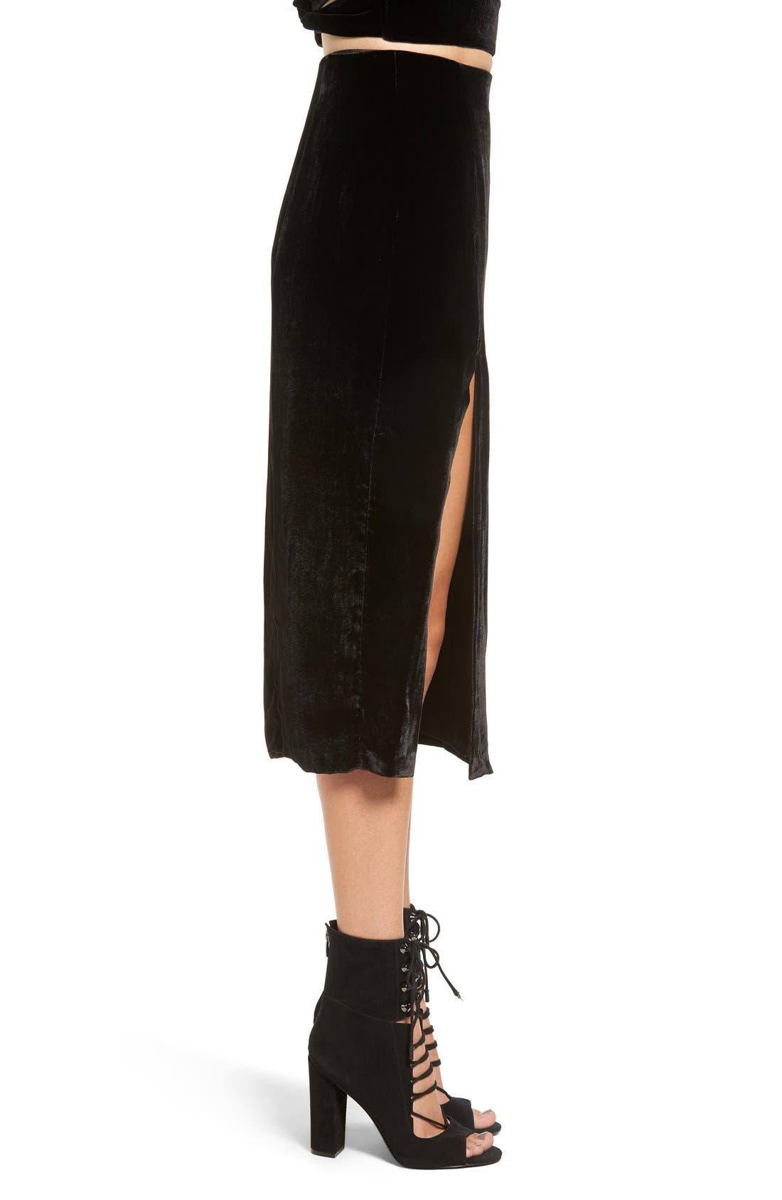 Alternate Image 3  - KENDALL + KYLIE Velvet Midi Skirt