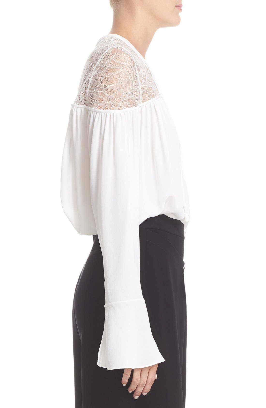 Alternate Image 5  - Yigal Azrouël Lace-Up Ruched Crepe Georgette Blouse