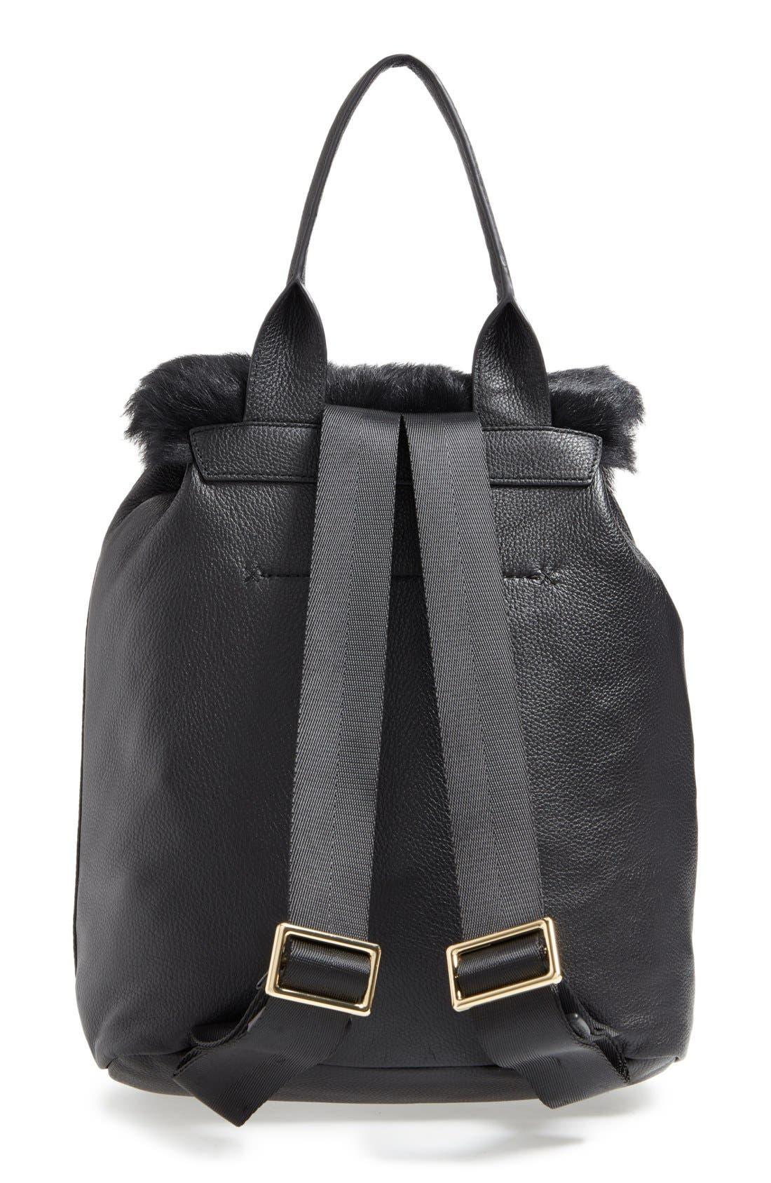 Alternate Image 3  - Elizabeth and James 'Langley' Leather & Genuine Sheep Fur Backpack