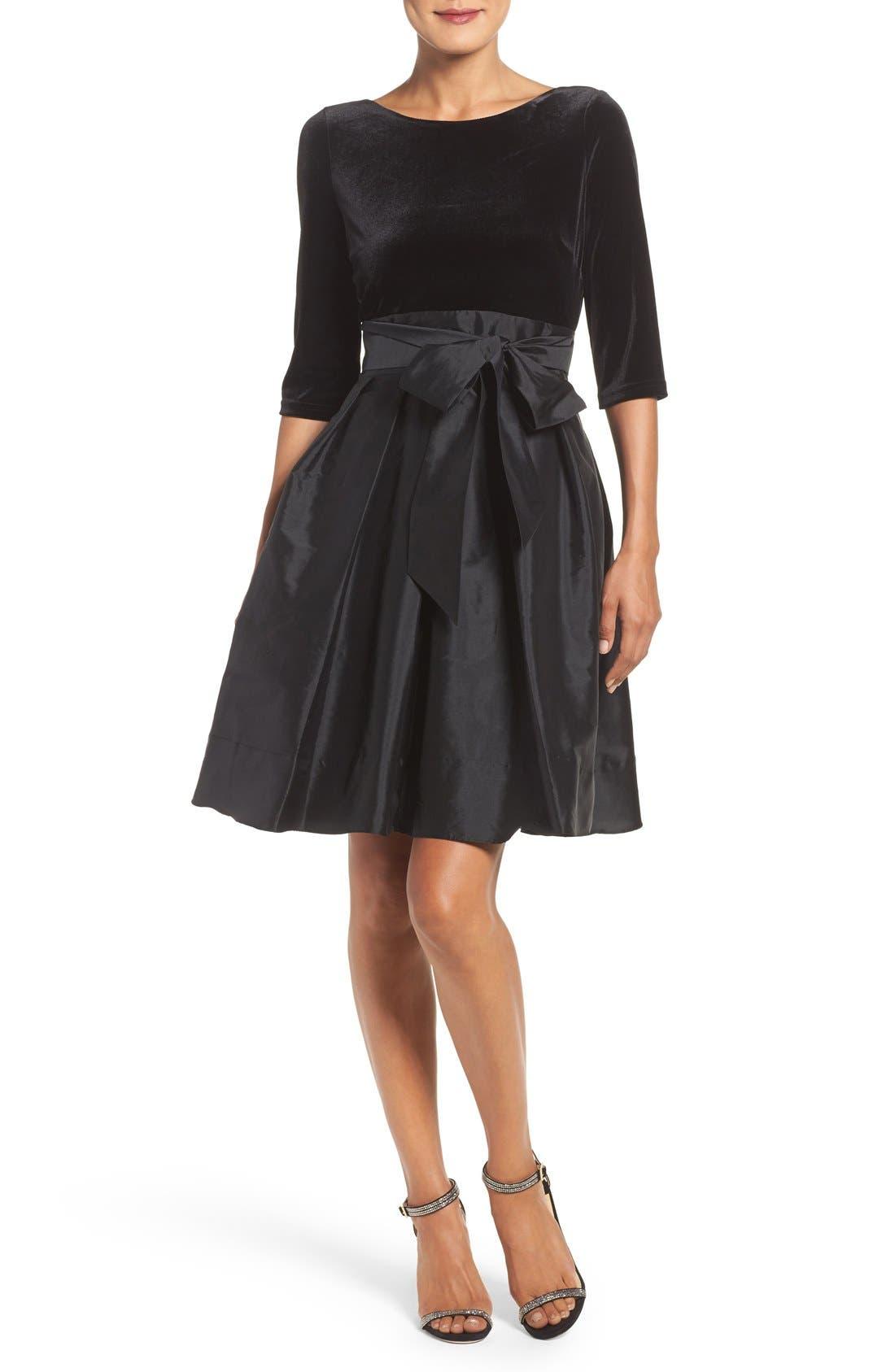 Alternate Image 4  - Adrianna Papell Velvet & Taffeta Fit & Flare Dress