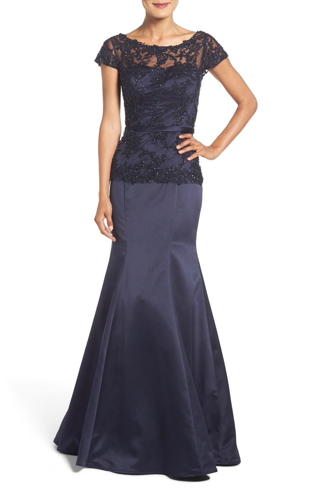 Main Image - La Femme Embroidered Beaded Lace & Satin Mermaid Gown