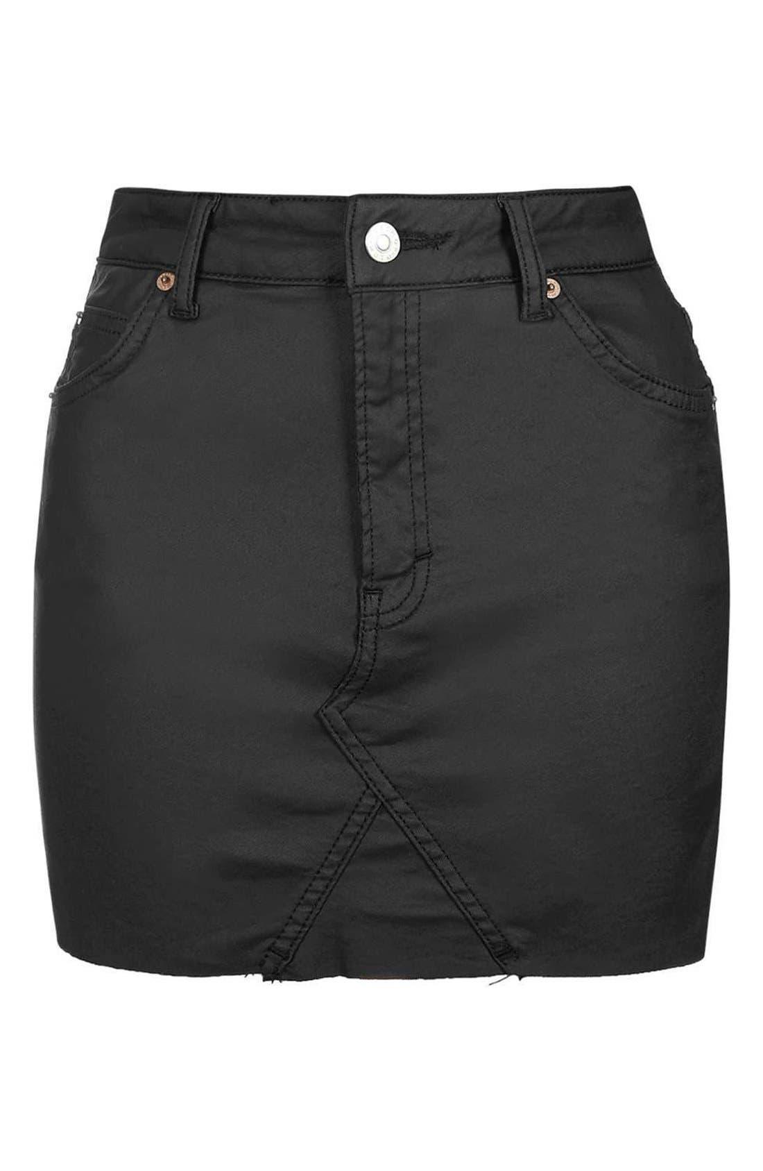 Alternate Image 4  - Topshop Coated Stretch Denim Miniskirt