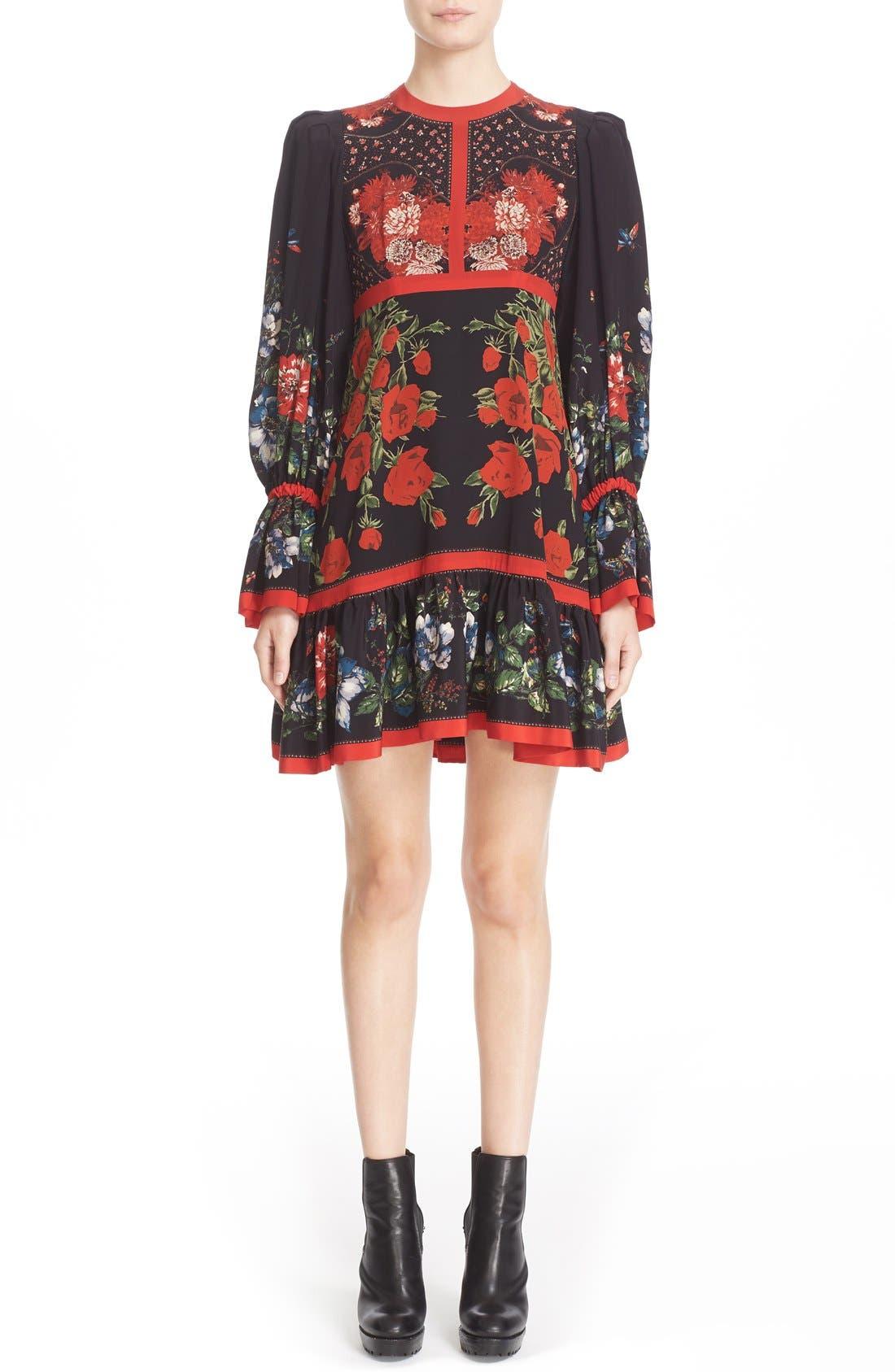 Alternate Image 1 Selected - Alexander McQueen Floral Print Silk Dress
