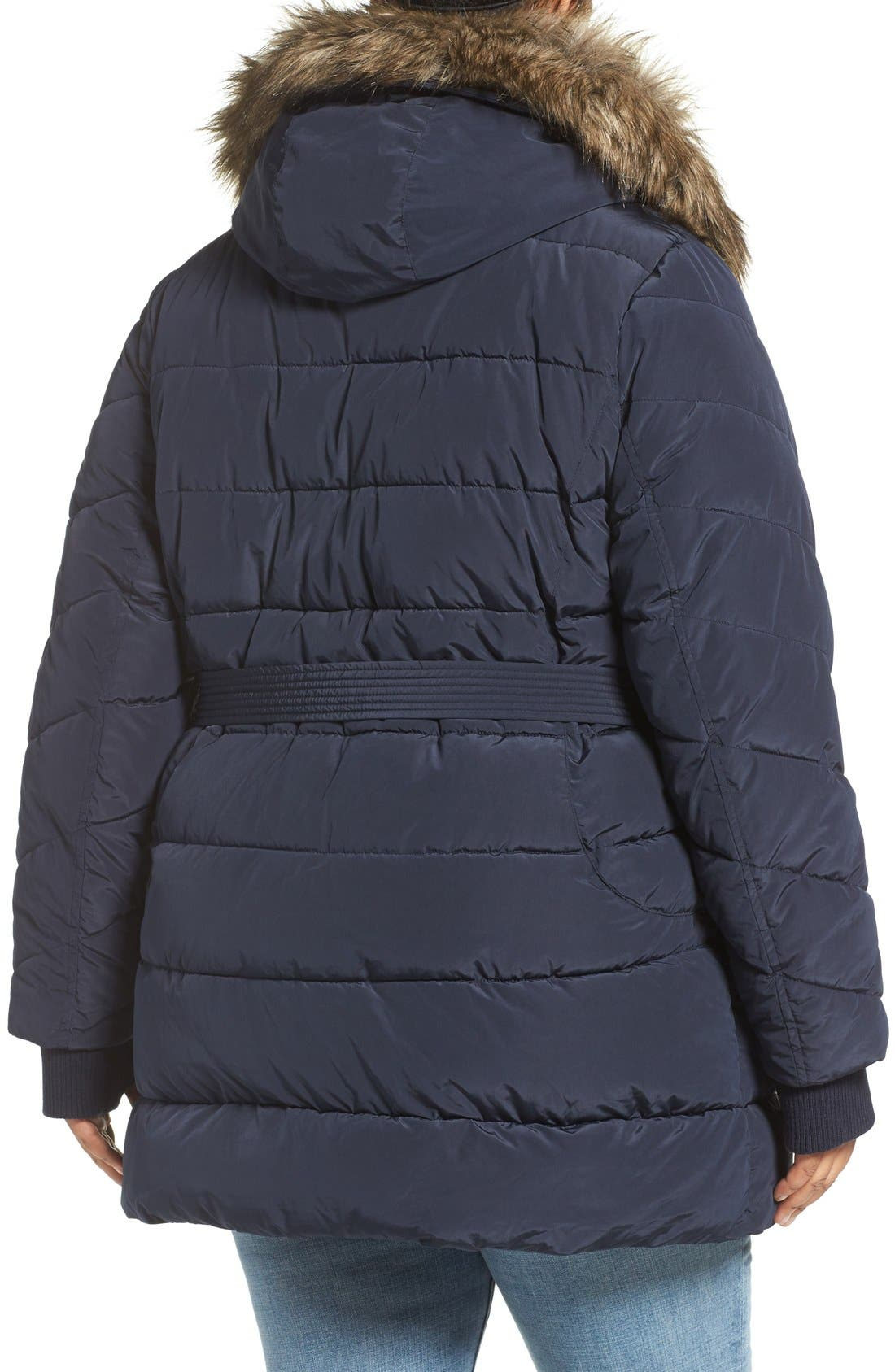 Alternate Image 2  - Lucky Brand Belted Puffer Jacket with Faux Fur Trim (Plus Size)