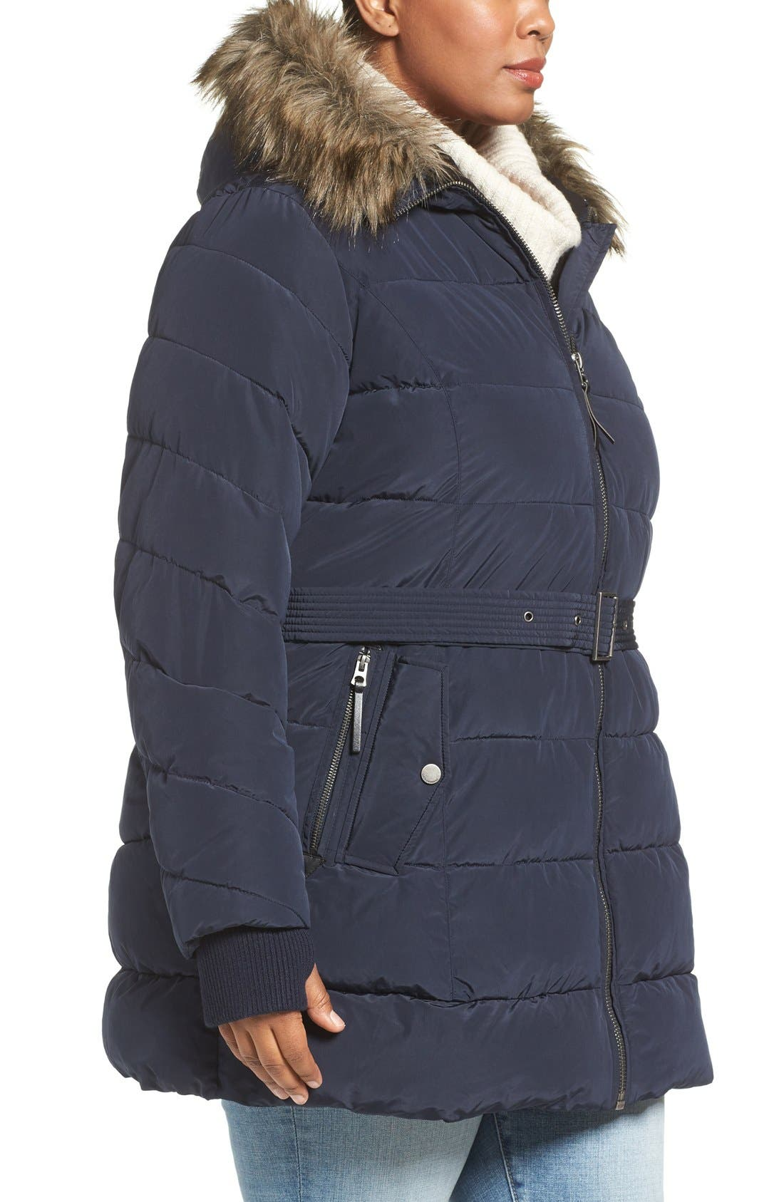 Alternate Image 3  - Lucky Brand Belted Puffer Jacket with Faux Fur Trim (Plus Size)