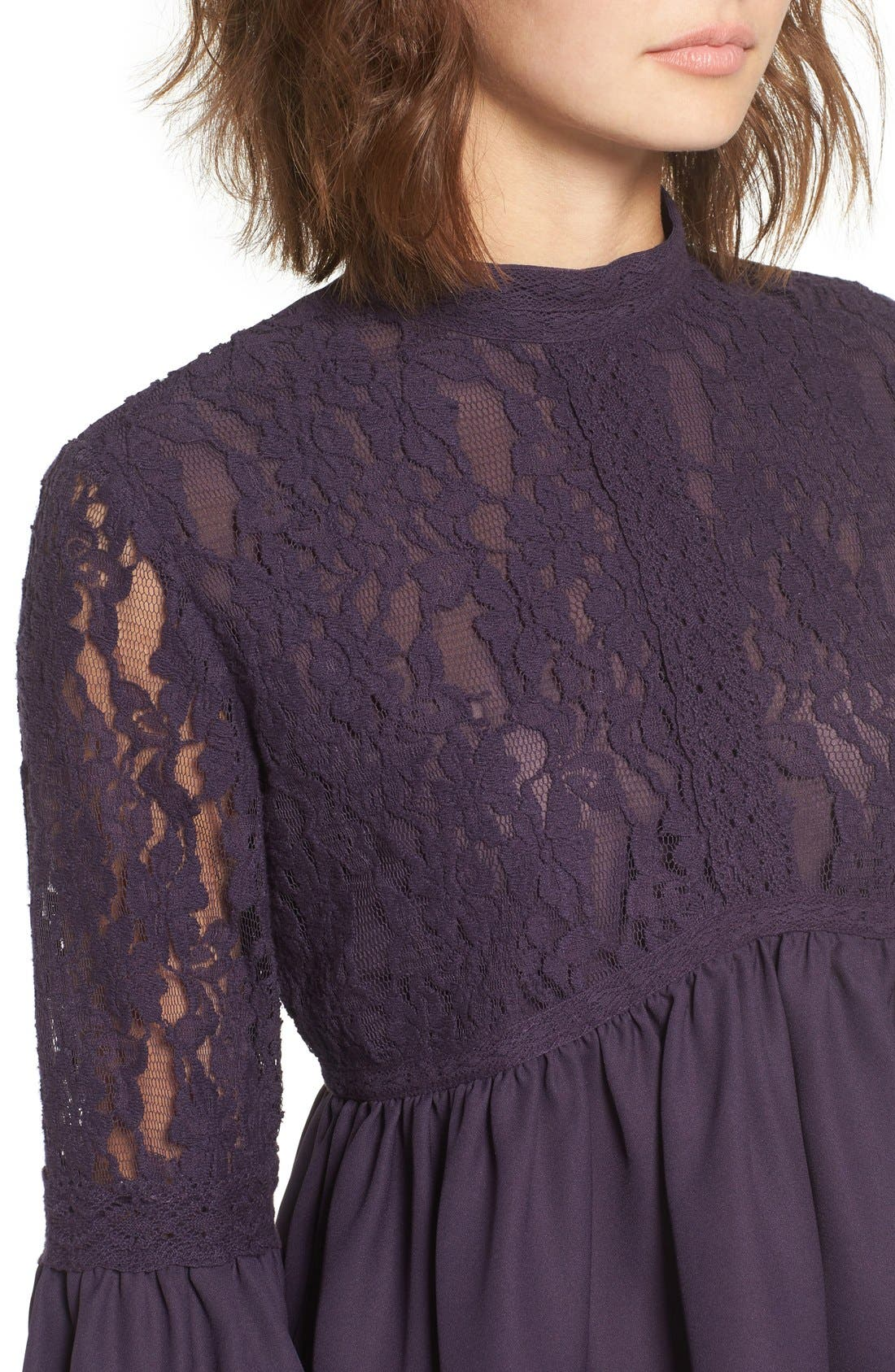 Alternate Image 4  - Sun & Shadow Lace Inset Peplum Top