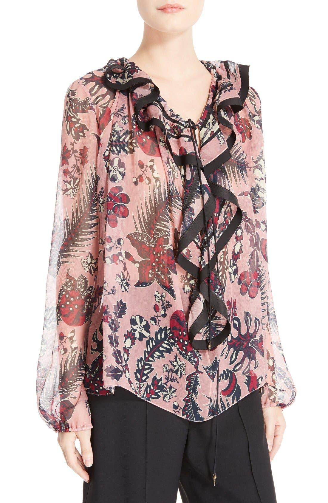 CHLOÉ Floral Print Silk Crepon Blouse