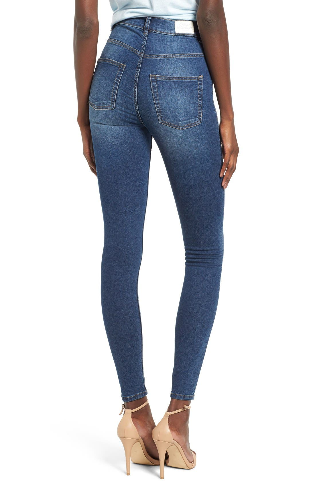 Alternate Image 2  - Cheap Monday High Rise Skinny Jeans (Dim Blue)