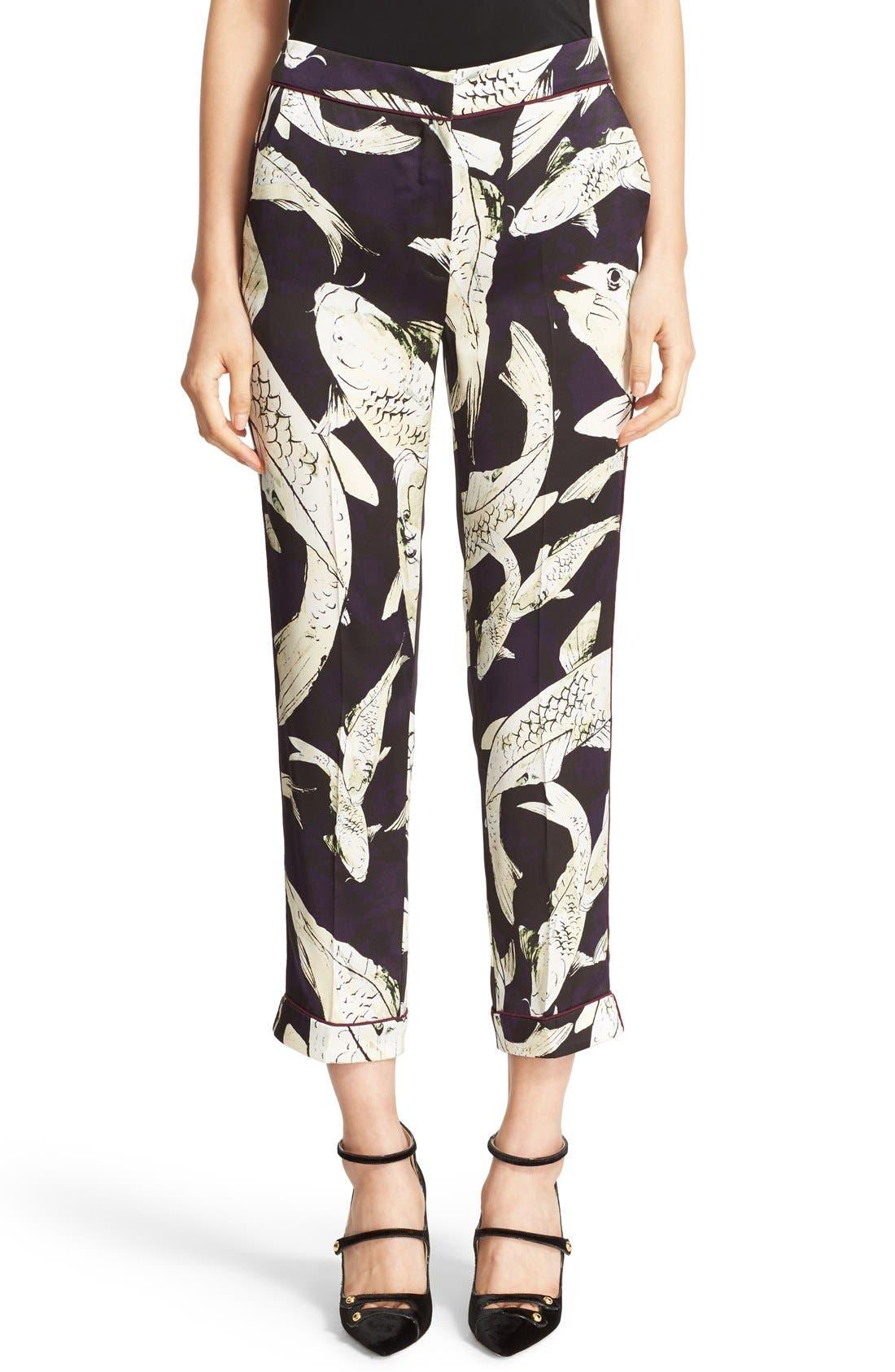 ERDEM Giulia Koi Print Silk Pajama Pants