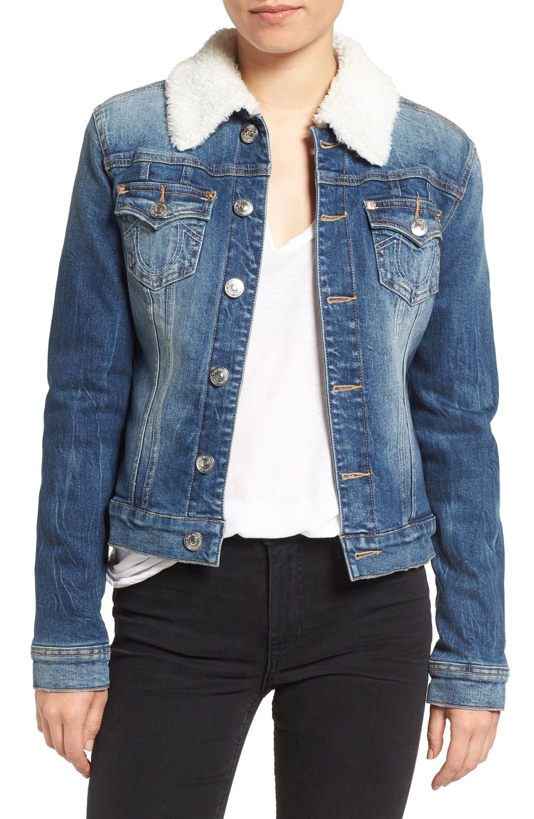 Alternate Image 1 Selected - True Religion Brand Jeans Western Dusty Faux Shearling Collar Denim Jacket