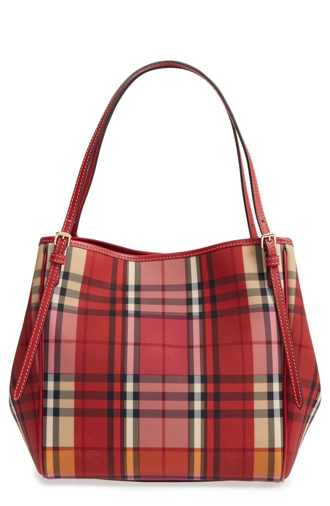 BURBERRY 'Small Canter' Horseferry Check & Leather Tote