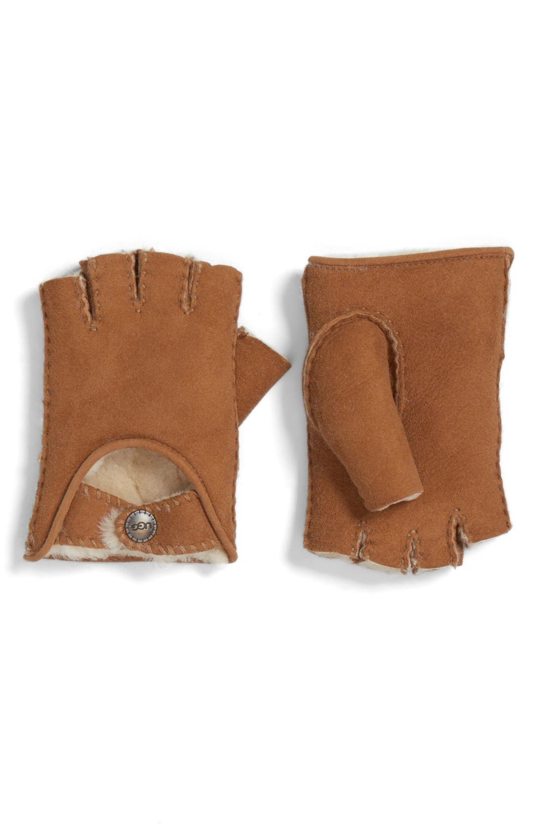 Main Image - UGG® McKay Genuine Shearling Fingerless Driving Gloves