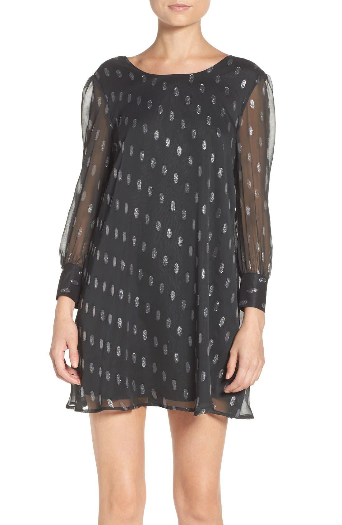 Alternate Image 1 Selected - BB Dakota Warren Metallic Chiffon Shift Dress