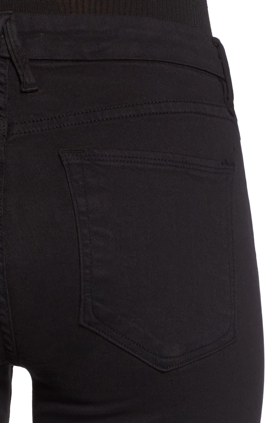 Alternate Image 4  - Good American Good Legs High Rise Ripped Skinny Jeans (Black 002)