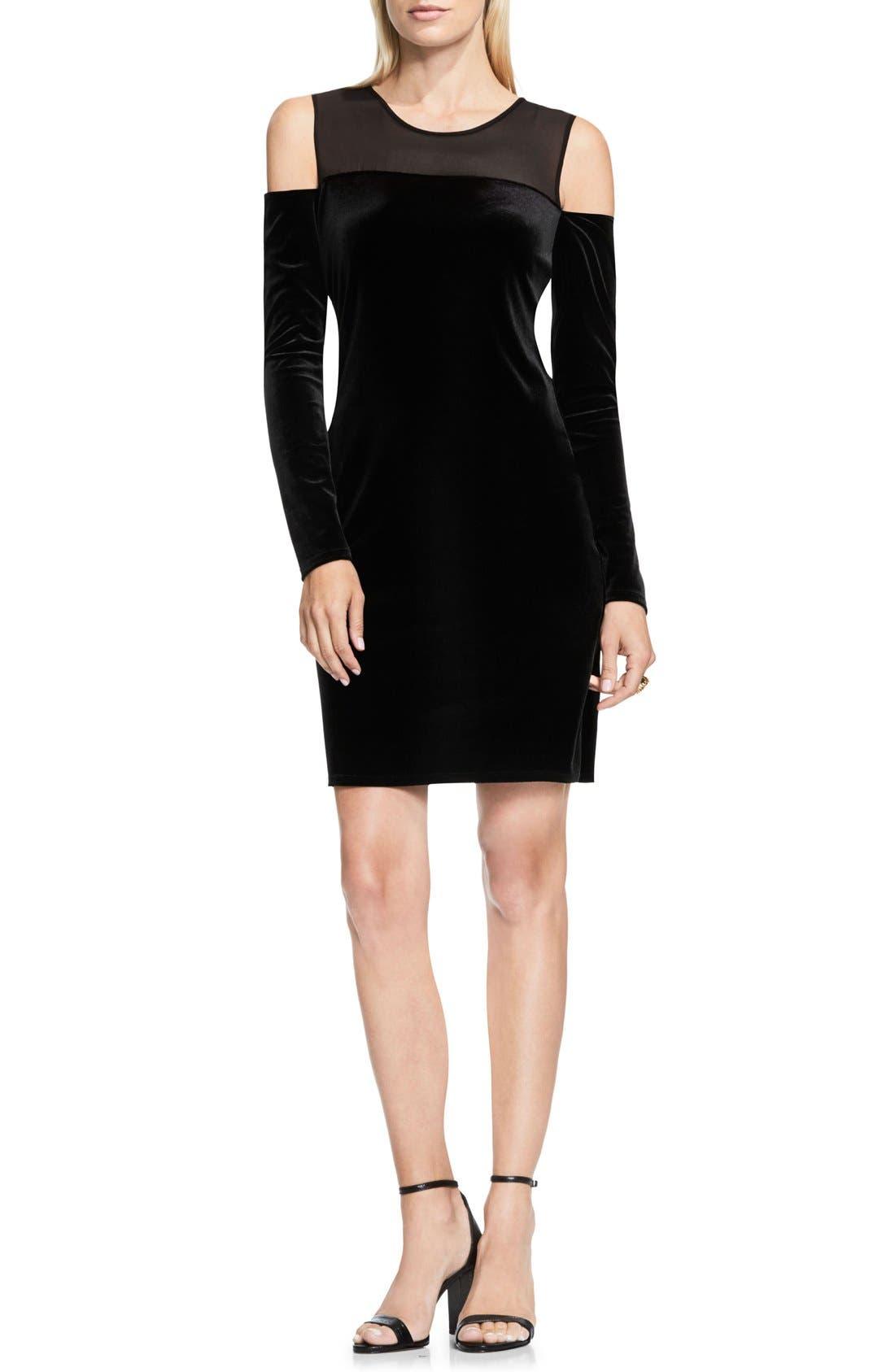 Main Image - Vince Camuto Velvet Cold Shoulder Dress
