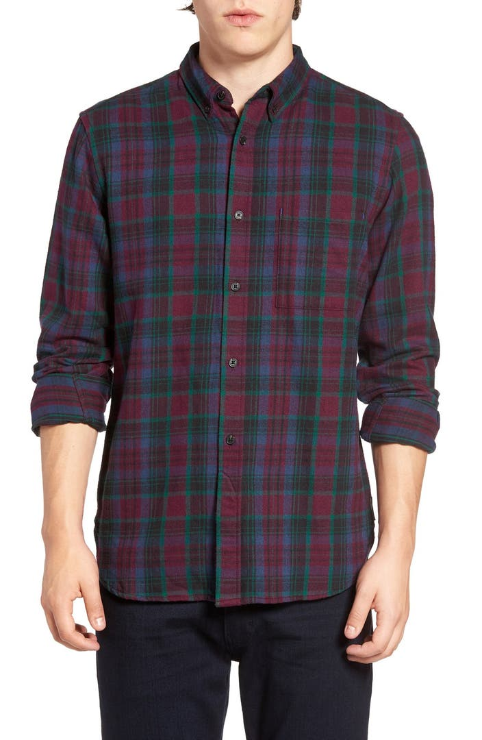 French connection trim fit flannel plaid sport shirt for Trim fit flannel shirts
