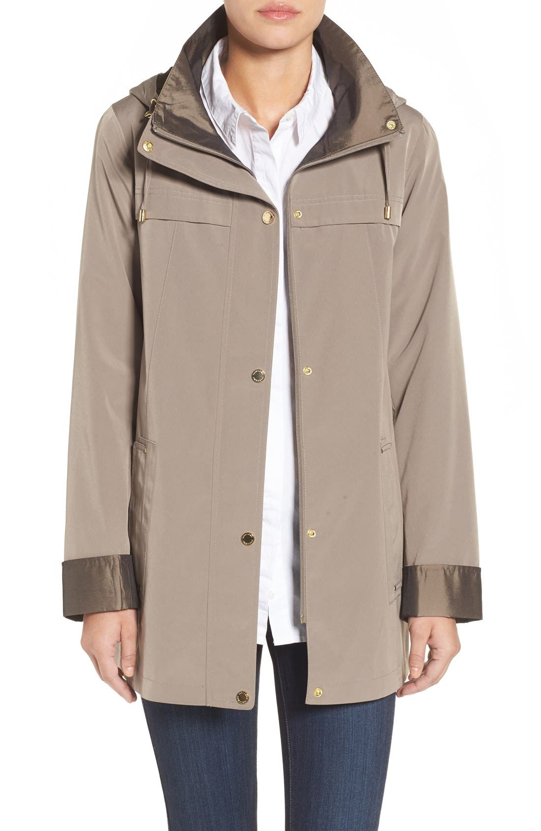 GALLERY Silk Look Hooded Raincoat