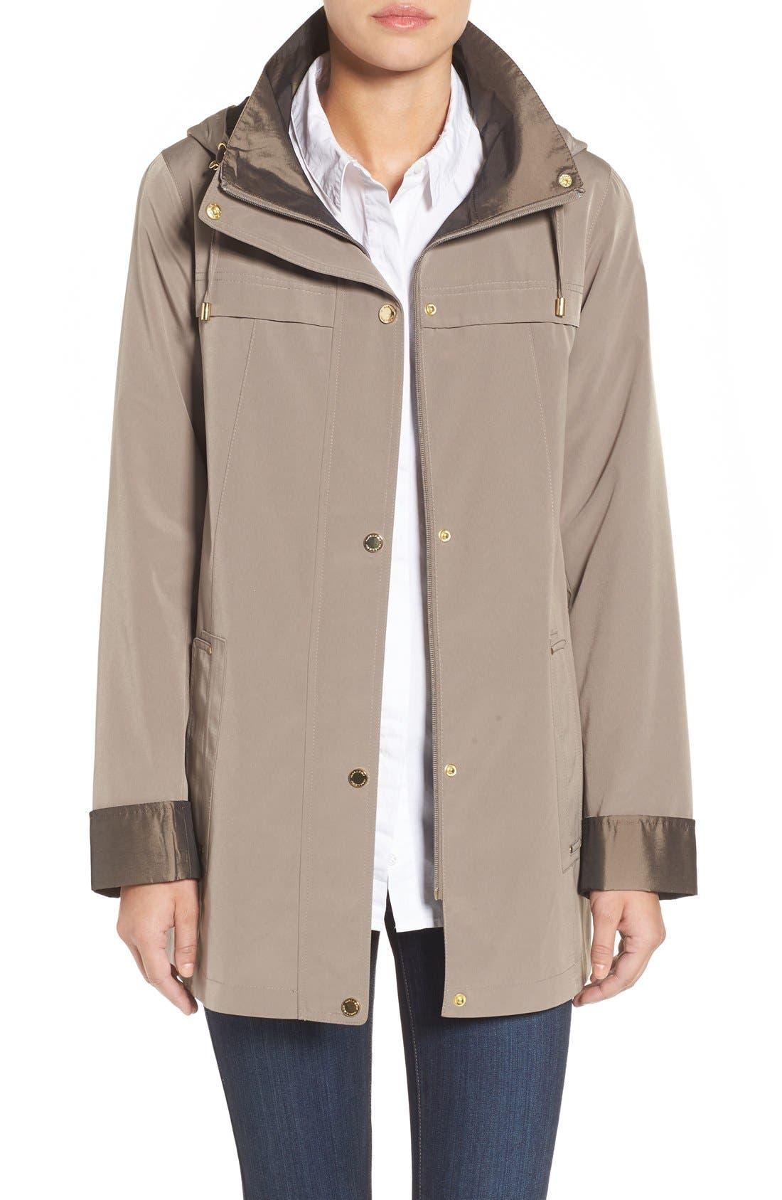 GALLERY Silk Look Hooded Raincoat