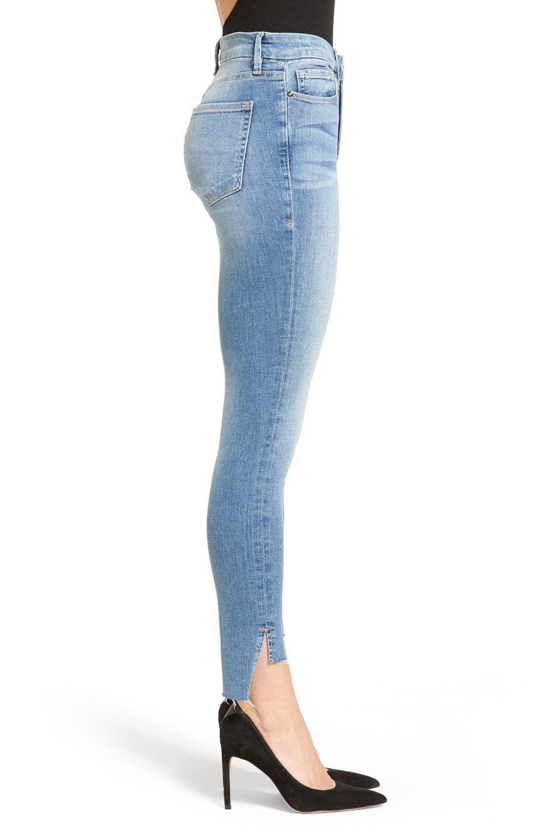 Alternate Image 6  - Good American Good Legs High Rise Raw Step Hem Skinny Jeans