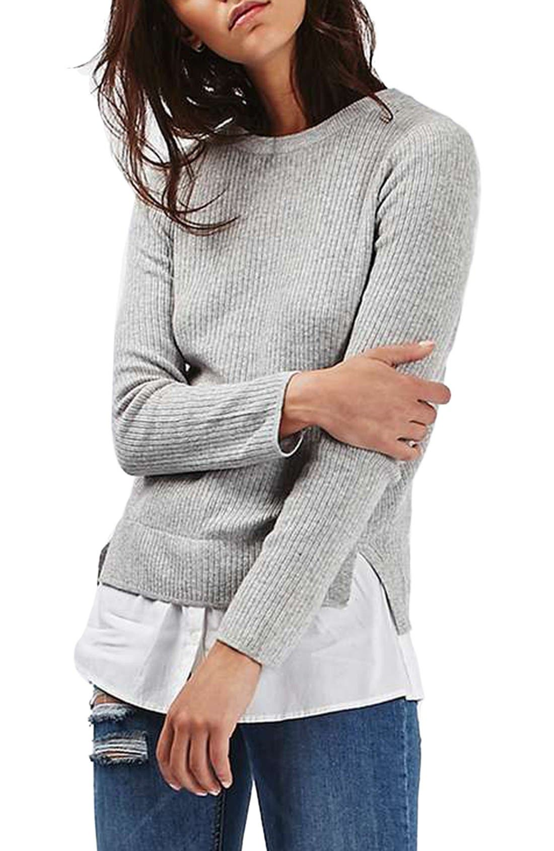 Alternate Image 1 Selected - Topshop Ribbed Layered Sweater