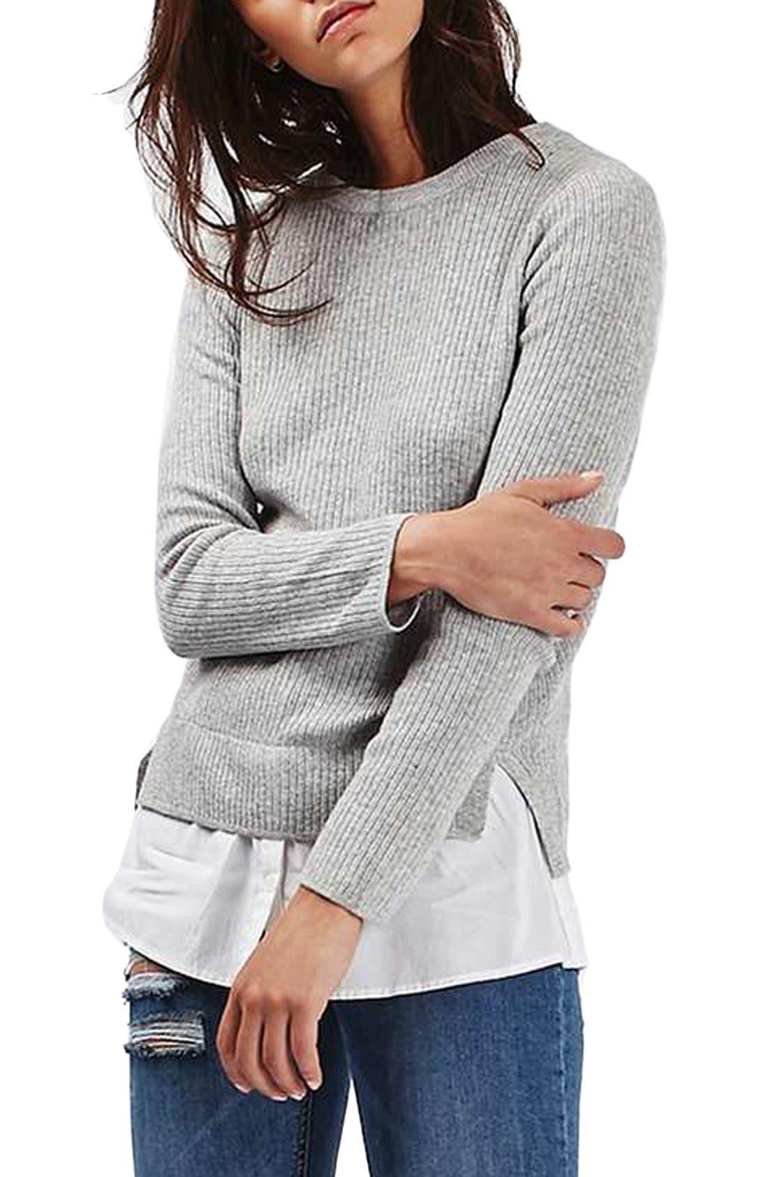 Main Image - Topshop Ribbed Layered Sweater